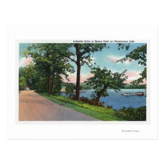 View of Lakeside Drive along Chautauqua Lake Postcard