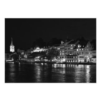 View of Limmata embankment at night Photo Print