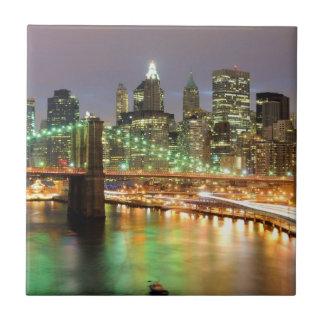 View of Lower Manhattan and the Brooklyn Bridge Ceramic Tiles