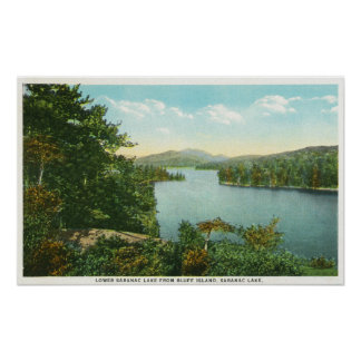 View of Lower Saranac Lake from Bluff Island Poster