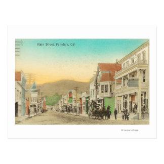 View of Main Street, Horse Carriage Postcard