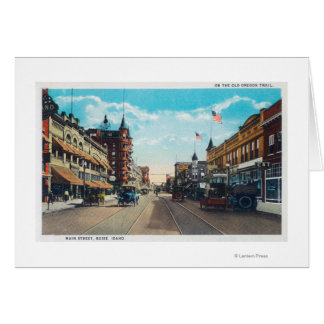 View of Main Street with Model-T Ford Cars Greeting Card