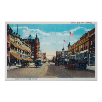 View of Main Street with Model-T Ford Cars Poster