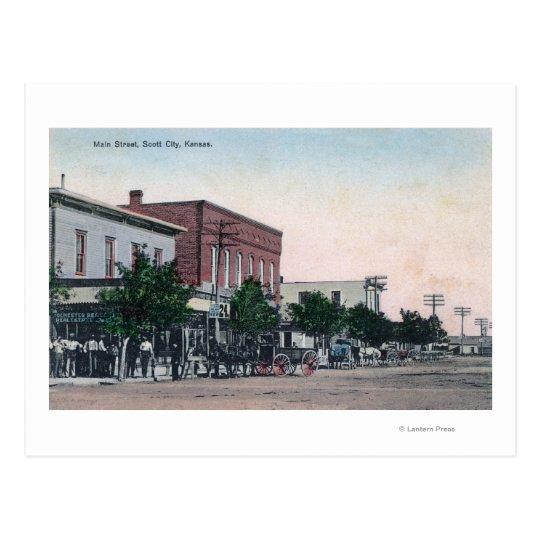 View of Main StreetScott City, KS Postcard