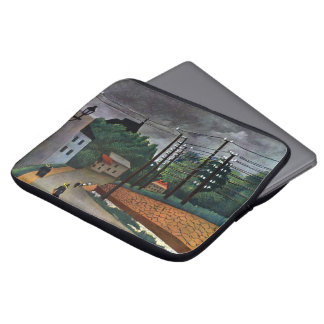 View of Malakoff by Henri Rousseau, Vintage Art Laptop Sleeve