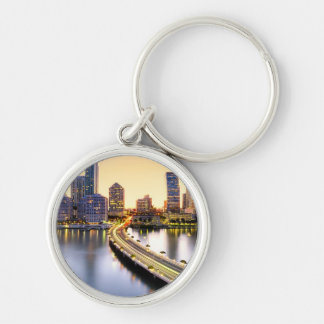 View of Mandarin Oriental Miami with reflection Silver-Colored Round Keychain