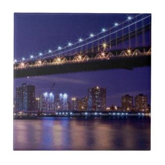 View of Manhattan bridge at night Ceramic Tiles