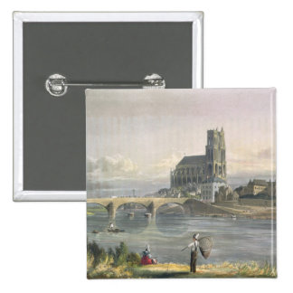 View of Mantes, from 'Views on the Seine', engrave 2 Inch Square Button