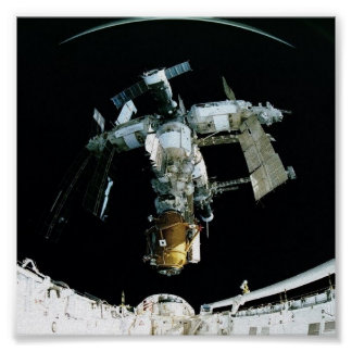 View of Mir Space Station from Shuttle Atlantis Poster