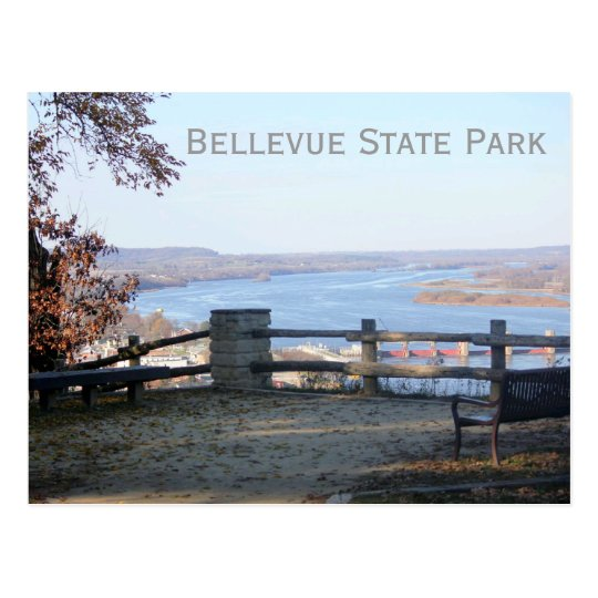 View of Mississippi, Bellevue State Park, Iowa Postcard