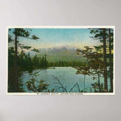 View of Mount Katahdin, Loftiest Peak in Maine Poster