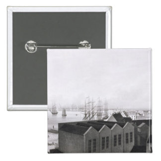 View of New Orleans taken from the Lower Cotton Pr 2 Inch Square Button
