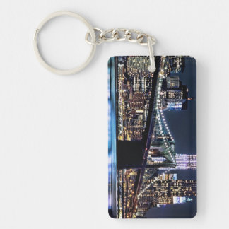 View of New York's Brooklyn bridge reflection Double-Sided Rectangular Acrylic Keychain