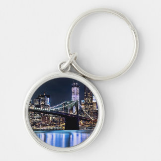 View of New York's Brooklyn bridge reflection Silver-Colored Round Keychain