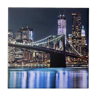 View of New York's Brooklyn bridge reflection Tiles