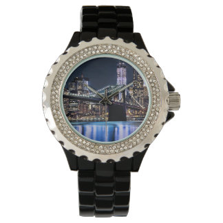View of New York's Brooklyn bridge reflection Wristwatch