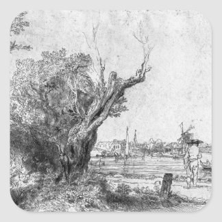 View of Omval, near Amsterdam, 1645 Square Sticker