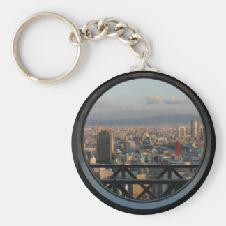 View of Osaka Japan from Umeda Sky building Basic Round Button Keychain