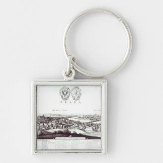 View of Prague, 1649 Silver-Colored Square Keychain