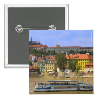 View of Prague Castle and town by Vltava 2 Inch Square Button