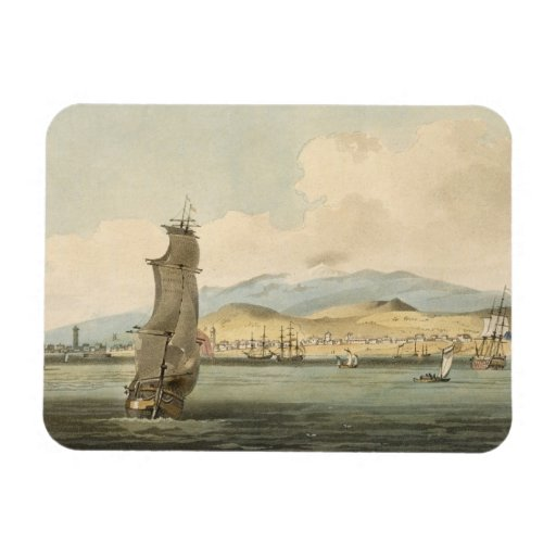 View of Santa Cruz, plate 3 from 'A Voyage to Coch Rectangle Magnet