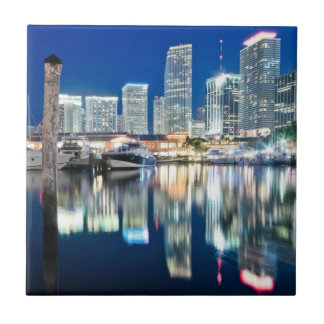 View of skyline with reflection in water, Miami Ceramic Tiles