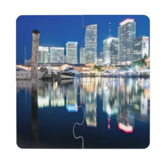 View of skyline with reflection in water, Miami Drink Coaster Puzzle