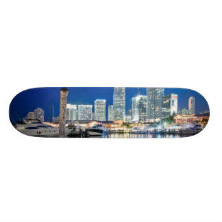 View of skyline with reflection in water, Miami Skateboards