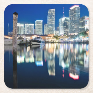 View of skyline with reflection in water, Miami Square Paper Coaster