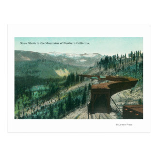 View of Snow Sheds over Train Tracks in Mountain Postcard