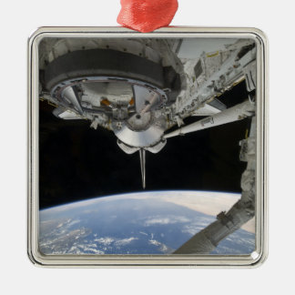 View of Space Shuttle Discovery Silver-Colored Square Ornament