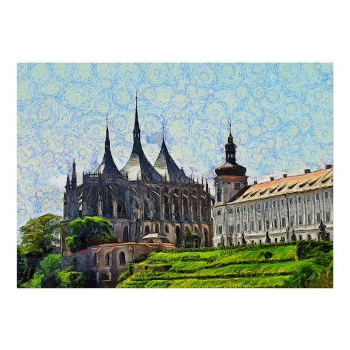 View of St. Barbara's Cathedral in Kutná Hora. Poster