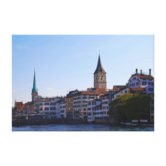 View of St. Peter's Church and Fraumunster. Canvas Print