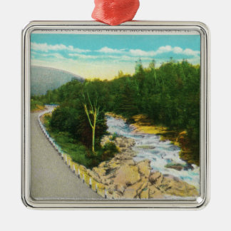 View of the Ammonoosuc Lower Falls Silver-Colored Square Ornament