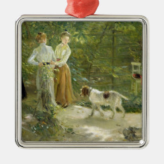 View of the artist's garden with his daughters Silver-Colored square ornament
