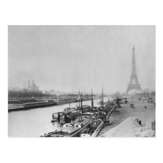 View of the banks of the Seine & the Eiffel Postcard