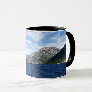 View of the Boka Kotorska bay, Montenegro Mug