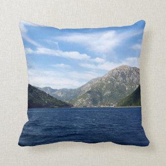 View of the Boka Kotorska bay, Montenegro Throw Pillow