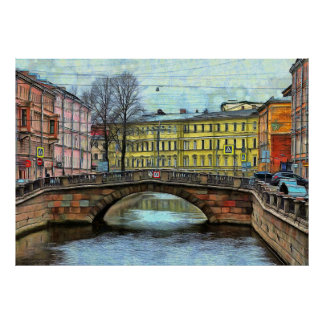 View of the bridge on the Griboedov Canal Poster