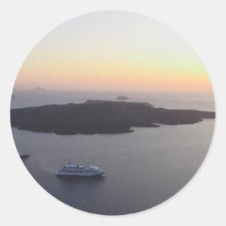 View of the Caldera in Santorini Island in Greece Classic Round Sticker
