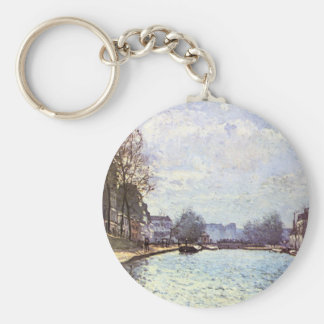 View of the Canal Saint Martin by Alfred Sisley Basic Round Button Keychain