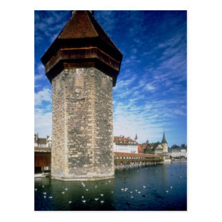 View of the Chapel Bridge in Lucerne, Switzerland Postcard