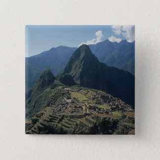 View of the citadel at Machu Picchu 2 Inch Square Button