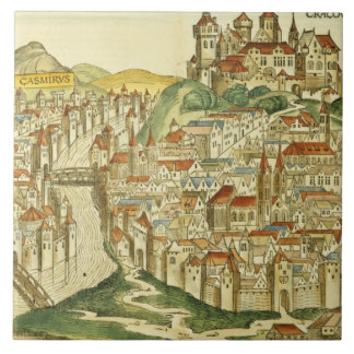 View of the city of Cracow (Kracow), from the Nure Tile