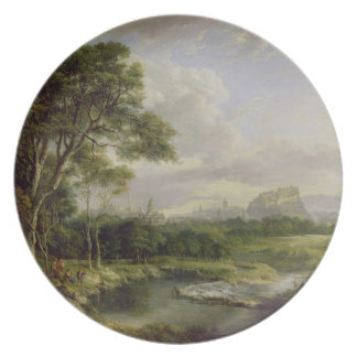 View of the City of Edinburgh, c.1822 (oil on canv Party Plate