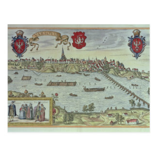 View of the city of Warsaw beside the river Vistul Postcard