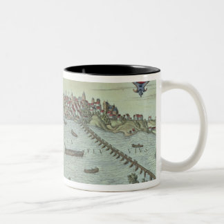 View of the city of Warsaw beside the river Vistul Two-Tone Coffee Mug