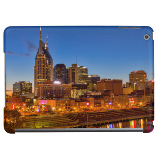 View of the city skyline at dusk iPad air covers