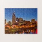 View of the city skyline at dusk jigsaw puzzle
