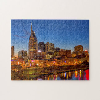 View of the city skyline at dusk puzzles